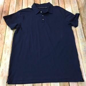 Marc Anthony Men's Navy Cotton Polo Shirt - Large